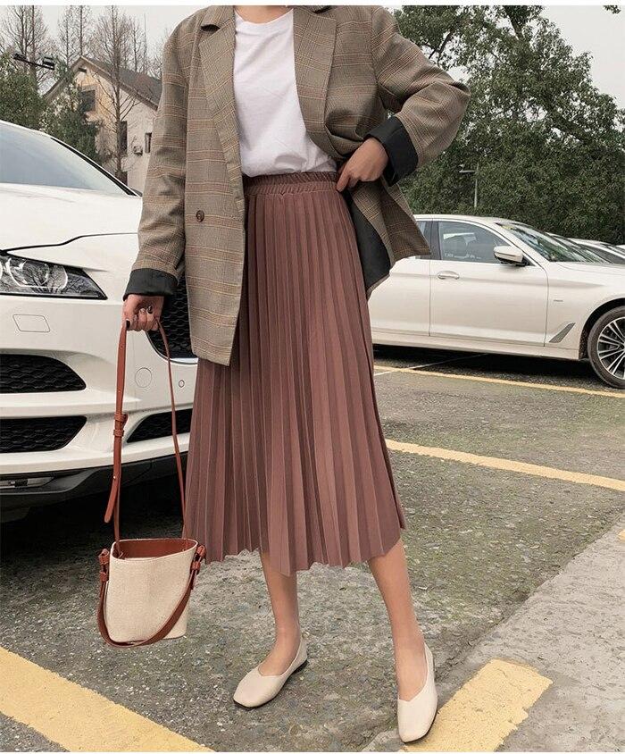 Surmiitro Elegant Solid Midi Pleated Skirt Women 19 Autumn Winter Ladies Korean High Waist A-line School Long Skirt Female 8