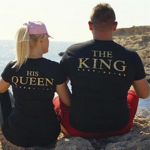 O REI e SUA RAINHA Impressão TShirts Dos Namorados Casais Lazer de Algodão Verão T-Shirt de Manga Curta O pescoço 2 peças cada combo