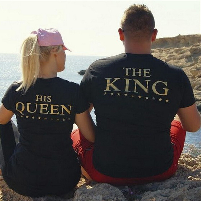 THE KING HIS QUEEN Print TShirts Valentine Cotton Summer Couples Leisure T-Shirt Short Sleeve O neck 2 pieces each combo