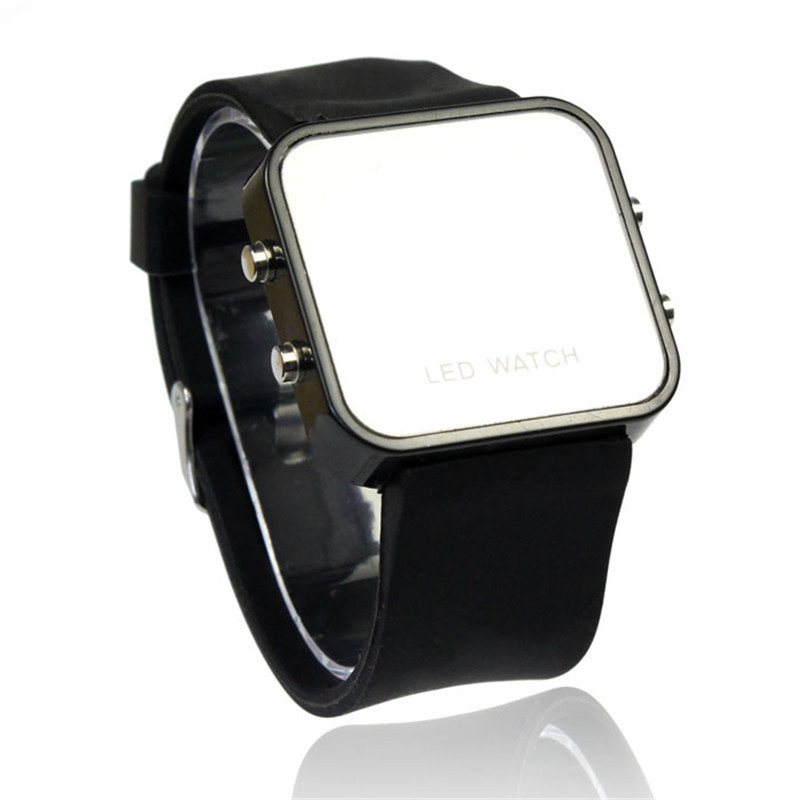 Digital Watches Womens Mens Rubber Mirror Calendar LED Watch Date Sports Bracelet Digital Wrist Quartz Watch Alarm Clock 328