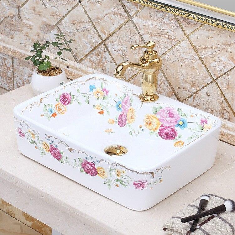 Rectangular Ceramic China Painting  wash basin Bathroom vessel sinks toilet bowls and basin rose pattern