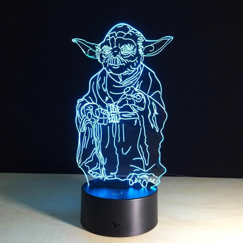 Star Wars Actionfigur Meister Yoda 3d Led Tabelle Nachtlicht Bunte
