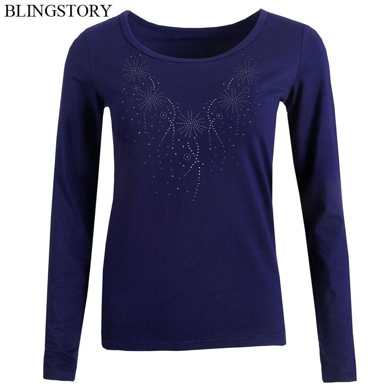 c112033f9 BLINGSTORY New Design Fashion Graphic Tees Women Autumn Rhinestone ...