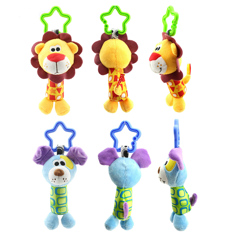 Kids Newborn Infant Baby Soft Toys Baby Rattle Hand Bell Baby Bed/Crib Stroller Cartoon Animal Monkey Elephant Duck Cute Toy P5