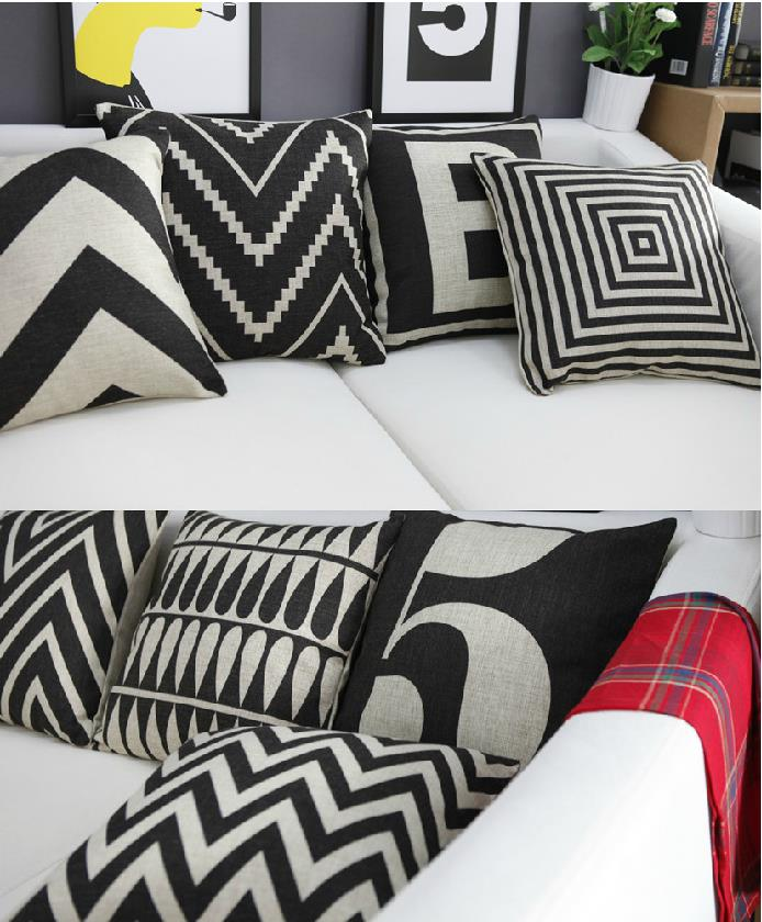 Nordic black stripes letters Geometric cotton cushion pillow for car office home Decor sofa cushions 1PCS image