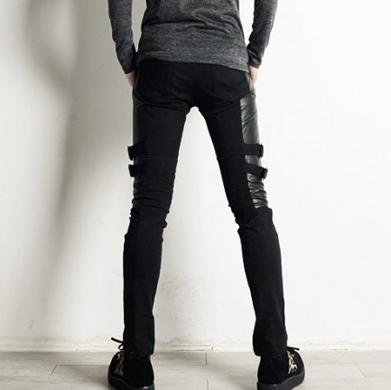 2016 Männer Männliche Dünne Beiläufige Hosen Männlichen Personalisierten Leder Hosen Dekoration Schwarze Hose Boot Cut Jeans Kostüm Sängerin Kostüme Und Ein Langes Leben Haben.