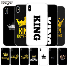King Queen Fundas Silicone Phone Back Case For Apple iPhone 6 6S 7 8 Plus X 10 XS MAX XR 5 5S SE Heart Cover Capa
