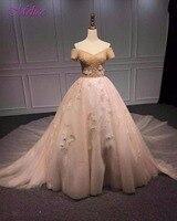 Melice רומנטי מתוק צוואר שרוול קצר כדור שמלת שמלה לנשף 2018 יוקרה חרוזים פרח המפלגה שמלת Robe De Soiree בתוספת גודל