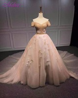 Dreagel Romantic Sweetheart Neck Short Sleeve Ball Gown Prom Dress 2017 Luxury Beaded Flower Party Gown