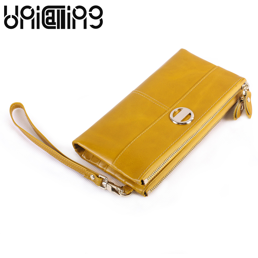 Genuine leather women wallets solid color mini Card Holder wrist strap Clutch bag Zipper Cow Leather Lady Purse Large capacity