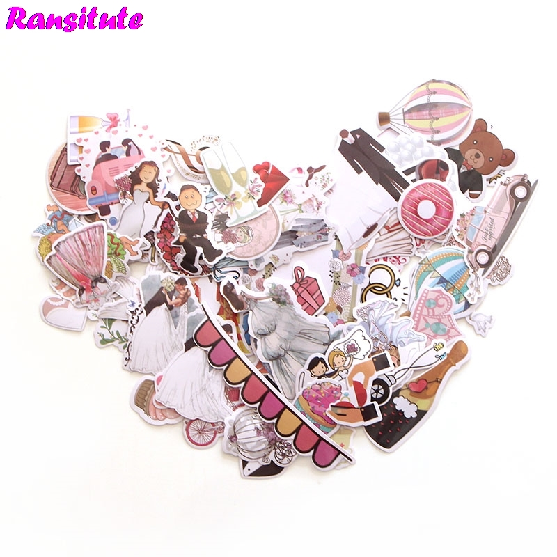 R174 68pcs / Set Of Dreamy Wedding Graffiti Stickers Skateboard Notebook Suitcase Mobile Phone Bicycle Waterproof Stickers
