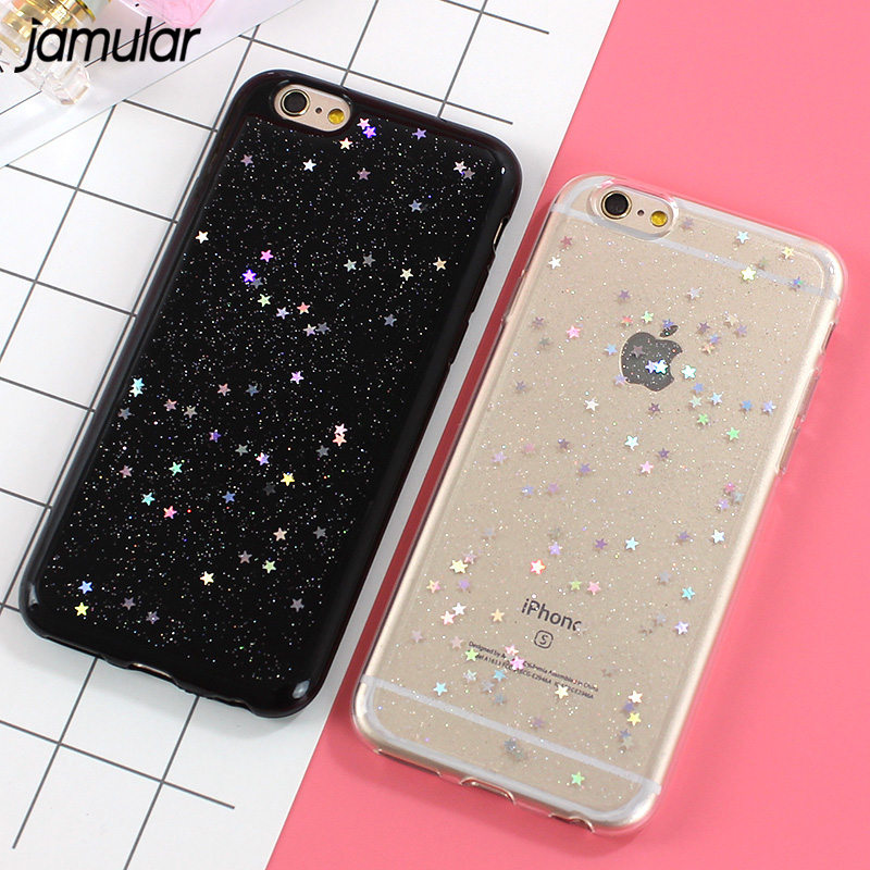 JAMULAR Case For IPhone X XS MAX XR Cases Bling Star Silicone Phone Back Cover Cases For IPhone