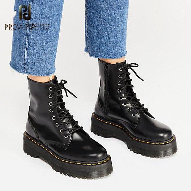 Prova perfetto สิทธิบัตรหนังข้อเท้ารองเท้าผู้หญิงแพลตฟอร์มรองเท้ามาร์ตินบิ๊ก Sole สีดำผู้หญิงฤดูหนาวรองเท้าหนัง Street รองเท้า