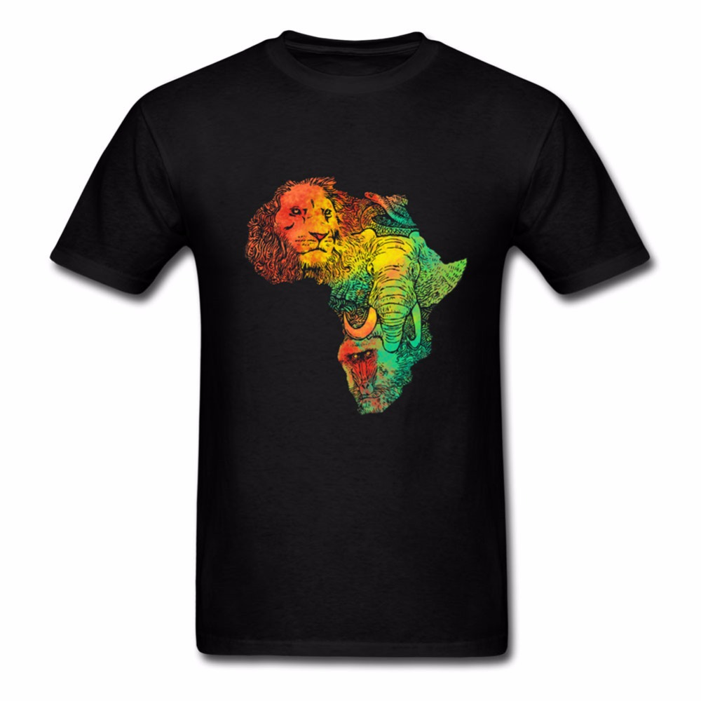 Africa Lion and Elephant <font><b>T</b></font> <font><b>Shirt</b></font> Group Men <font><b>T</b></font> <font><b>Shirt</b></font> O-neck Cotton Short Sleeve <font><b>Israel</b></font> Tees <font><b>Shirts</b></font> Homme Casual <font><b>Shirt</b></font> Tops image