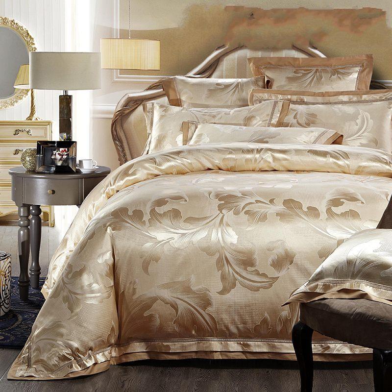 4 / 6pcs Jacquard-vuodevaatteet Ylellinen Noble Wedding Gold Brodeerattu Satiini-pussilakana vuode arkin tyynyliinat puuvilla kuningas queen-size