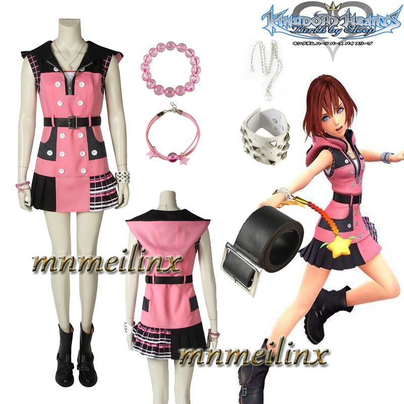 Newest Hot Game Cospaly Kingdom Hearts 3 Kairi Halloween Cosplay Costume Customize Pretty Dress Accessories Full set with Boots