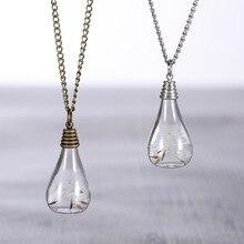 Fashion Creative Antique Bronze Glass Vial Perfume Bottle The built Natural Dandelion Dandelion Seed Plant Necklaces