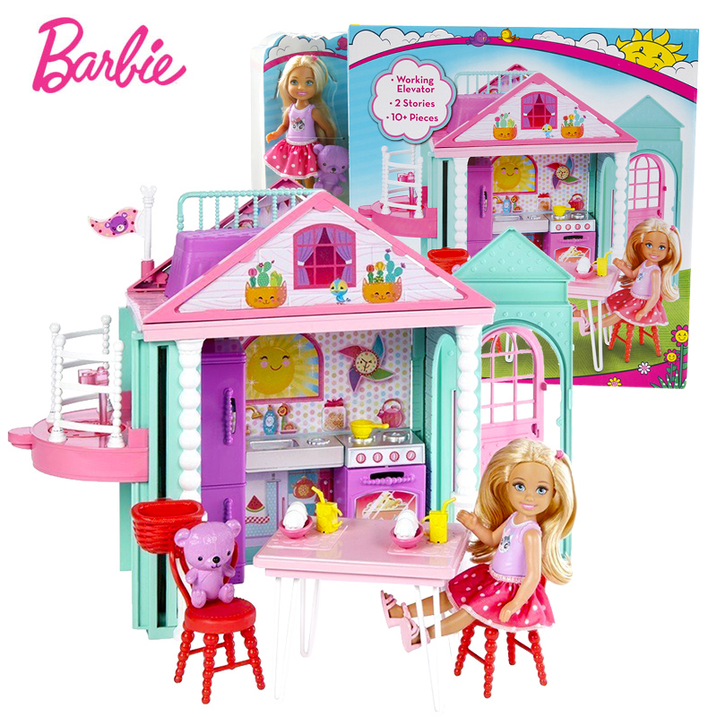 Barbie Original Little Kelly Dollhouse Cute Toy For Story House Girl Birthday Toys For Children Gifts Fashion Dolls For Girls cxzyking fashion barbie accessories sofa jewelry box furniture for barbie dolls house toys for baby girls best birthday gifts