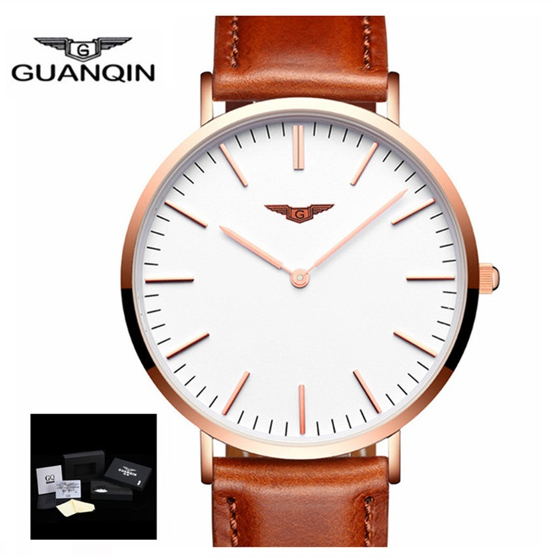 GUANQIN Men Watches 2018 Brand Luxury Quartz Ultra Thin Watch Men Stainless Steel Mesh Band Dress Wristwatch Relogio Masculino top brand otex men watch stainless steel band analog display quartz wristwatch ultra thin dial men s watches relogio masculino