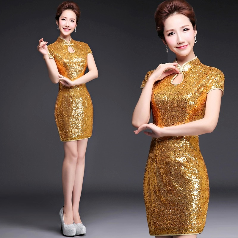 wanita pendek emas sequin formal dinner party cinese cheongsam - Pakaian kebangsaan - Foto 1
