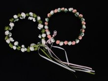 2017 NEW Bridal Rose Floral Branch Wedding Head Wreath Crown Floral Halo Headpiece Photography Tools for Adults-White+Pink