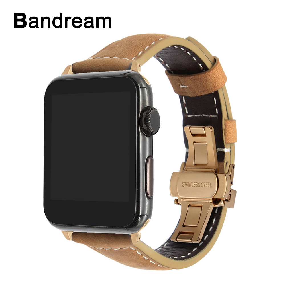 Italy Vintage Genuine Leather Watchband for iWatch Apple Watch 38mm 42mm Series 1 2 3 Butterfly Clasp Band Wrist Strap Bracelet kakapi crocodile skin genuine leather watchband with connector for apple watch 38mm series 2 series 1 pink
