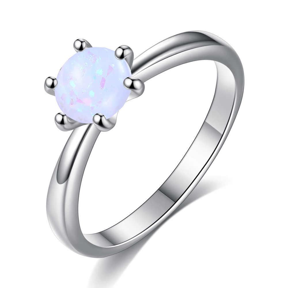 Beiver Hitam Warna Emas Cincin untuk Wanita Sintetis Api Opal Pernikahan Perhiasan Natal Penawaran Gratis Pengiriman