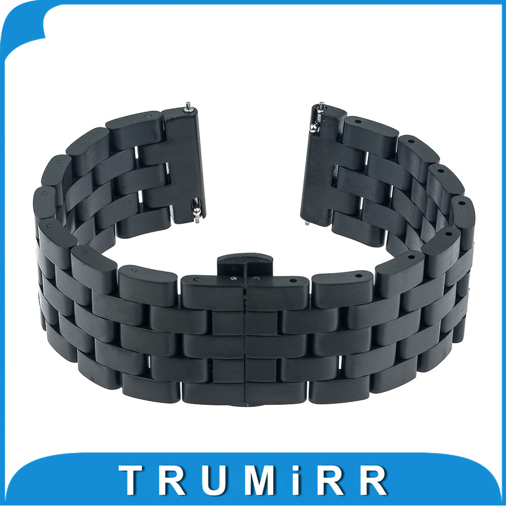 Prix pour Libération rapide Bande 5 Pointeur Inoxydable Bracelet En Acier Bracelet pour Asus Zenwatch 1 2 22mm LG G Watch W100 W110 W150 Pebble temps