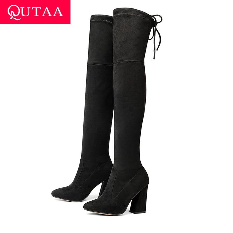 QUTAA 2018 nuevo rebaño de cuero de las mujeres hasta la rodilla botas de encaje Sexy tacones altos zapatos de mujer zapatos de invierno botas botas tamaño 34-43