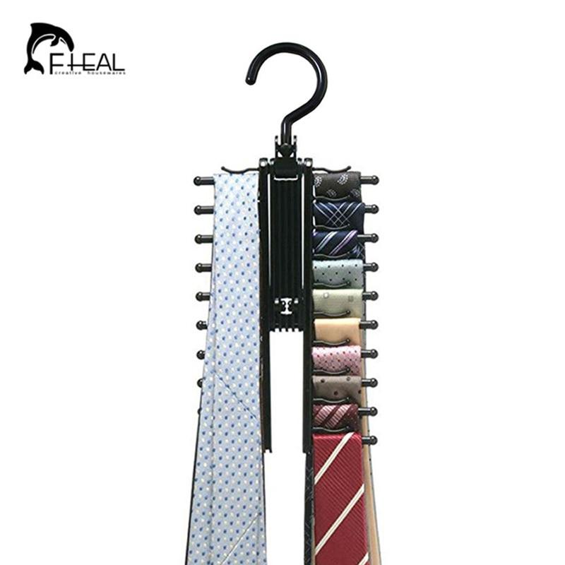 FHEAL Novedad Rotativo 20 Fila Multifunción Corbata Cinturón - Organización y almacenamiento en la casa