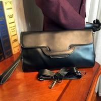 ETONWEAG New 2017 Women Famous Brands Cow Leather Black Zipper Vintage Wallets Envelope Day Clutch Bags