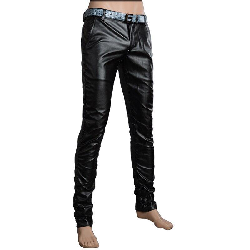 Мотоцикл Клуб Плотно Искусственной Кожаные Штаны Мужчины Горячая Мужская Мода брюки Для Мотоциклов Танцевальные Брюки Для Мужчин Hip Hop Мужчины Брюки