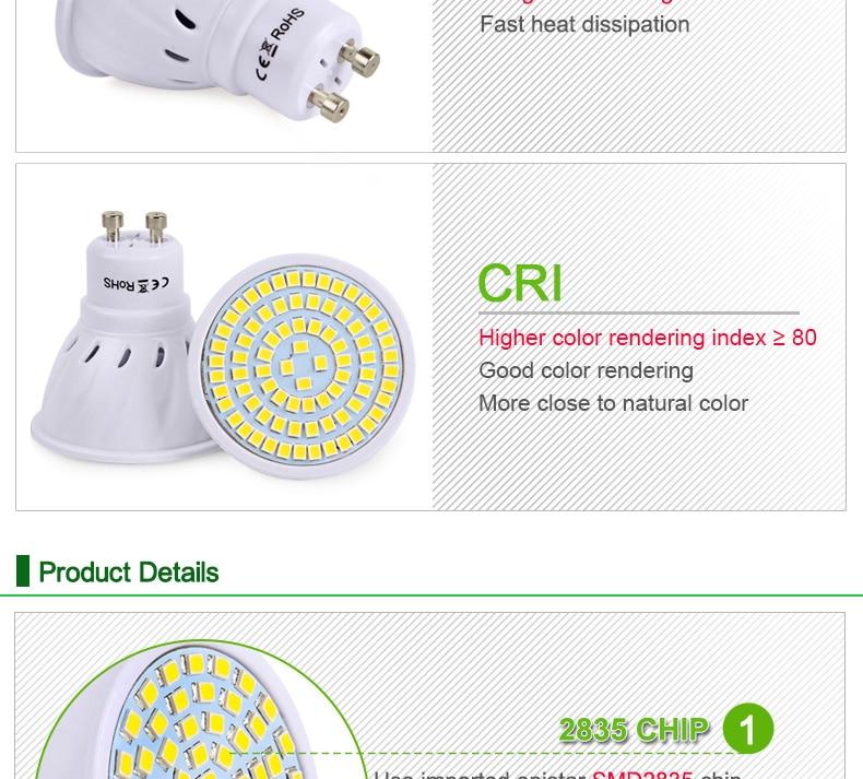 E27 LED Bulb GU10 LED Lamp 220V SMD 2835 MR16 Spotlight 48 60 80LEDs Warm White Cold White Lights for Home Decoration Ampoule