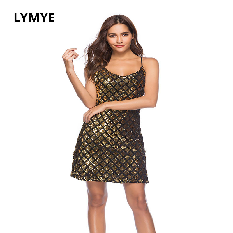 Spaghetti Strap Party Women Gold Sequin Sleeveless Dresses Grid Sheath Sparkle Shinney Dress 2018 Summer Evening Short Dress