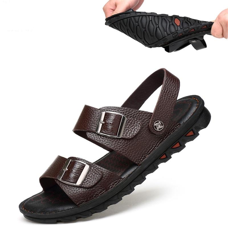 2019 Hohe Qualität Männer Sandalen Schuhe Mode Schwarz Männlichen Hausschuhe Schuhe Sommer Strand Wohnungen Männer Freizeit Strand Schuhe Weichen Boden Schrecklicher Wert
