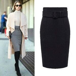 Image 4 - Neophil 2020 kış gri kalın yün Midi kalem etekler artı boyutu kadınlar Casual ince yüksek bel kemeri ofis iş elbisesi Saias S1205