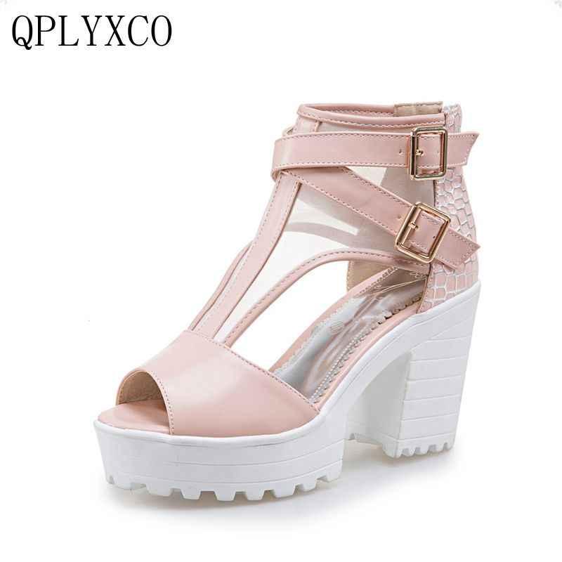 QPLYXCO גודל גדול קיץ נשים סנדלי 2017 פלטפורמת נקבה עבה נעלי סנדלים בסגנון קיץ טו פיפ עקבים גבוהים העקב נשים 3125
