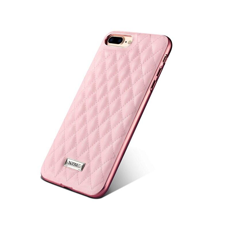 bilder für Mode Elegant Rautenform Ledertasche Für Apple iPhone 7/7 Plus Luxus Galvanotechnik Silikon Rand Back Cover Telefon fällen