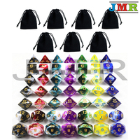 7 Sets of Transparent Mixed White Color Dice for Dungeons and Dragons with 7 Piece Dice Bags Cube Game, Rpg Game As Gift