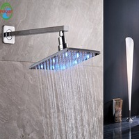 Rainfall Chrome Square Shower Head sturdy Bathroom LED 8 Inch Shower Head Nail