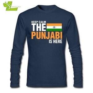 Image 1 - Mantenere La Calma Paura Il Punjabi È Qui T Camicia Maschile Nuova Venuta Maglietta Normale T Shirt di Autunno degli uomini 100% Cotone A buon mercato Papà Abbigliamento