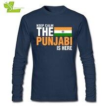 Zachowaj spokój strach Punjabi jest tutaj T Shirt mężczyzna nowy nadchodzący Tshirt normalny T Shirt męska jesień 100% bawełna tanie tata odzież