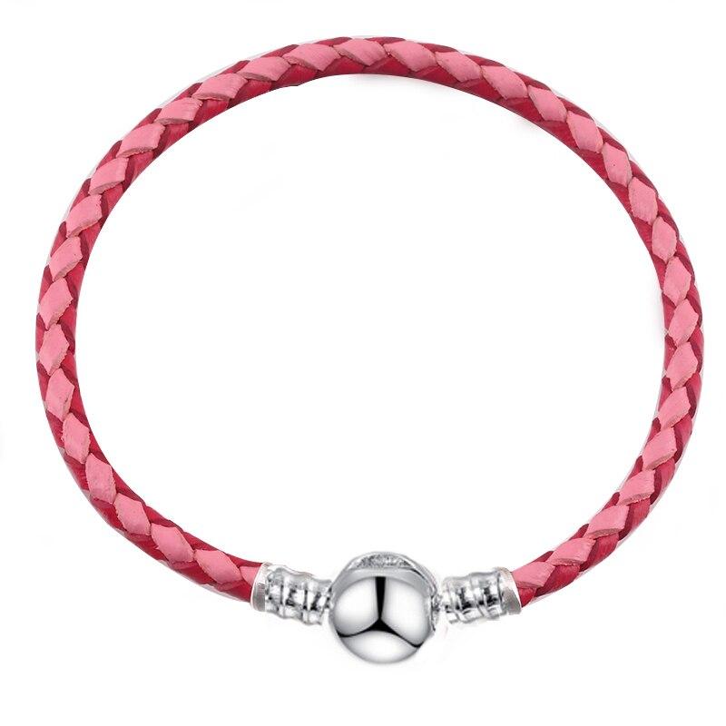 BAOPON, Прямая поставка, высокое качество, 9 цветов, кожаная цепочка, браслеты с подвесками, сделай сам, прекрасный браслет для женщин, девушек, ювелирное изделие, подарок - Окраска металла: Pink 2