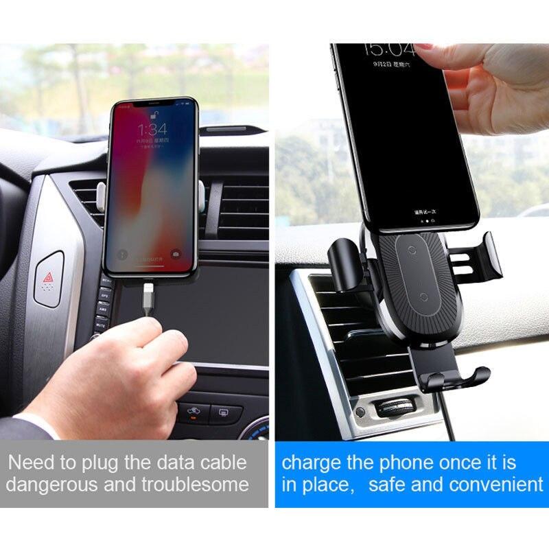 Chargeur de voiture rapide sans fil support de montage téléphone portable chargeur sans fil support de gravité en métal capteur infrarouge automatique de charge - 4