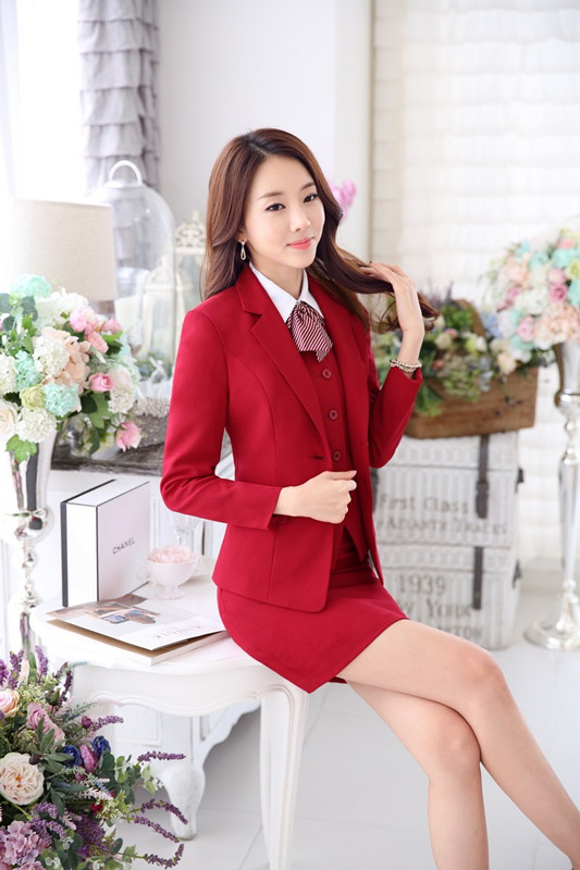 Formal Custom made Red Blazer Women Suits with Skirt and ...