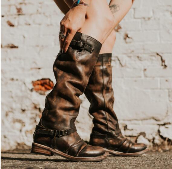 Reißverschluss Kunstleder Retro Stiefel mit Zurück Gurtband