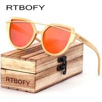 RTBOFY Cat Eyes Wood Sunglasses Polarized Women 2017 News Brand Designer Wood Sun Glasses For Women