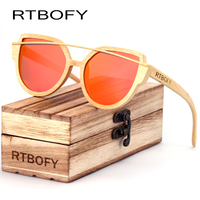 RTBOFY Cat Eyes Wood Sunglasses Polarized Women 2017 News Brand Designer Wood Sun Glasses For Women