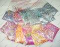 12 Цветов (= 120 грамм) Голографическая и НЕОН Устойчивы К Воздействию Растворителей Блеск Смешанная Форма Набор для Ногтей Решений, Nail Art Блеск Ремесел