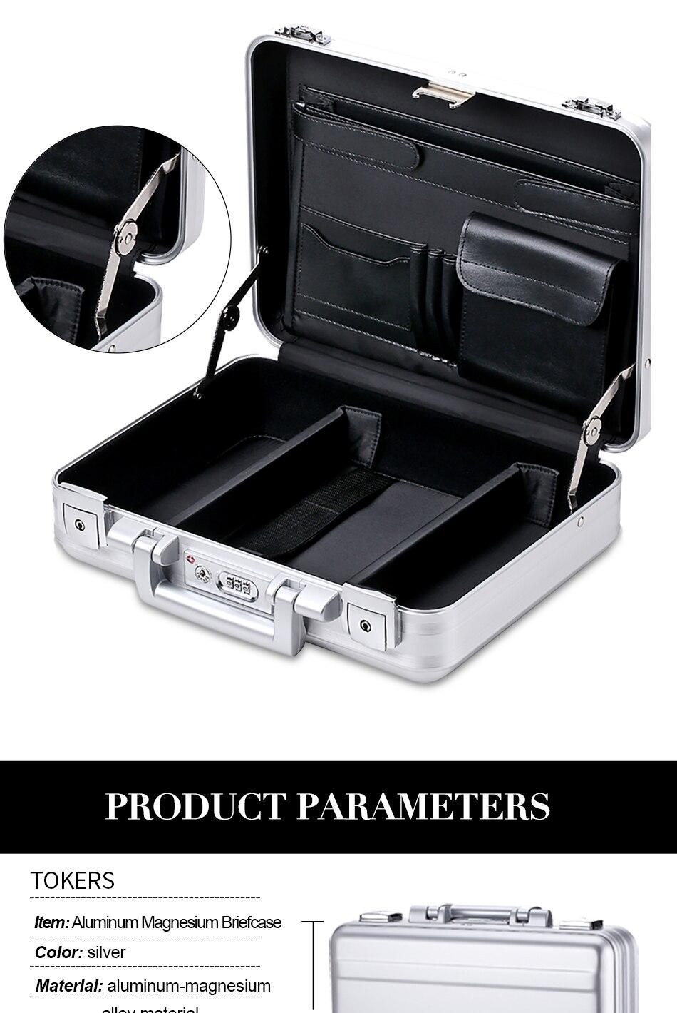 Pure Aluminum Briefcase Tools Laptop Men Women Lawyer Business Office File Storage Box Precision Instrument Custom
